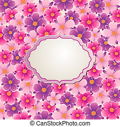 Decorative vector background with pink and violet flowers