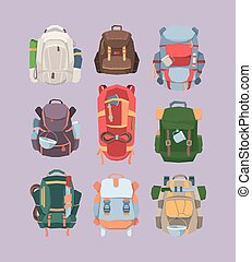 Backpacks camping hiking set. Equipment comfortable for tourism and travel active adventure colored and thick fabrics more things with pot mug machete rope for passing jungle. Vector cartoon.