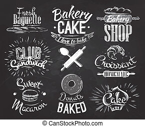 Bakery characters in retro style lettering donuts, croissants, macaron, stylized drawing with chalk on blackboard