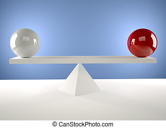 A white and a red sphere sitting in balance - 3d render