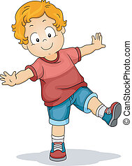 Illustration of a Young Boy with His Arms Spread Wide While Trying to Maintain His Balance