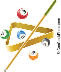 Ball and cue for playing billiard game. Eps10 vector illustration. Isolated on white background