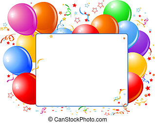 Vector Illustration of blank place card with balloons and confetti.