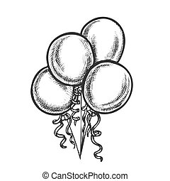 Balloons Bunch With Curled Ribbon Retro Vector