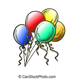 Balloons With Curled Ribbon Monochrome Vector