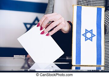 Ballot voting, vote box politics, choice, election. Elections in Israel.