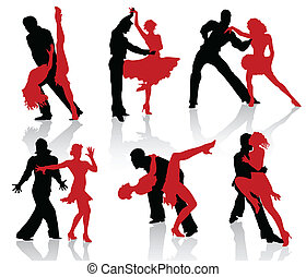 Silhouettes of the pairs dancing ballroom dances. Tango, step.