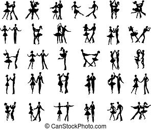 Collection of vector ballroom pair dancers silhouetes