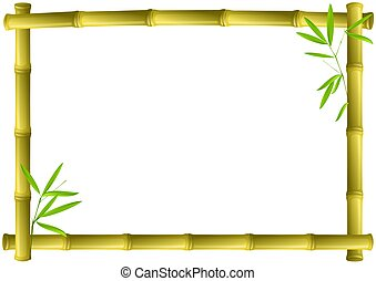 brown bamboo frame isolated on white