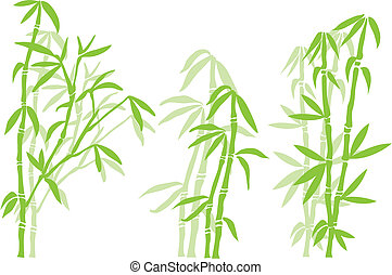 Bamboo tree silhouettes, vector