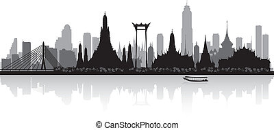 Bangkok Thailand city skyline vector silhouette illustration