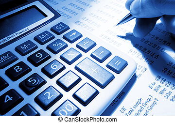 calculator, hand and pen