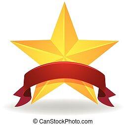Banner design with golden star