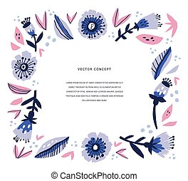 Banner, invite with floral frame