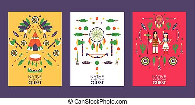 Banner with symbols of Native American culture, vector illustration. Quest game invitation, party in American Indian style. Isolated icons of tent, tomahawk, feather and dream catcher