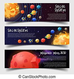 Banners for solar system, astronomy, mars mission