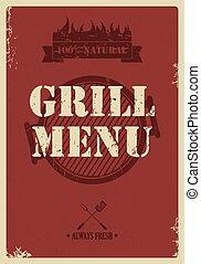 Barbecue menu, vintage style, vector