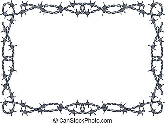 vector barbed wire frame pattern isolated on white