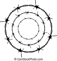 Silhouette barbed wire illustration on white background.