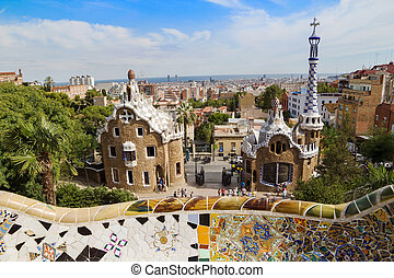 Barcelona's Park Guell entrance pavilions in sunny day. Spain.