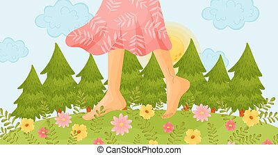 Bare feet on a flower meadow. Vector illustration.