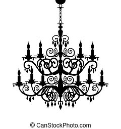 Baroque decorative chandelier silhouette isolated on white, full scalable vector graphic included Eps v8 and 300 dpi JPG.