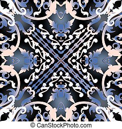 Baroque colorful vector seamless pattern. Glowing floral background. Damask flowers, branches, leaves, frames. Vintage beautiful old style ornament. Symmetrical modern design. Repeat ornate backdrop