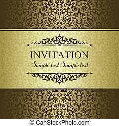Baroque invitation, gold and brown