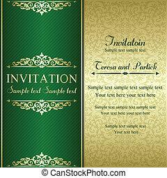 Baroque invitation, gold and green