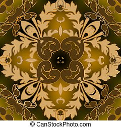 Baroque seamless pattern. Vector ornate glowing floral background. Repeat Damask backdrop. Vintage autumn leaves, flowers. Baroque Victorian style leafy ornaments. Elegant golden autumn design