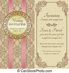 Baroque wedding invitation, gold, brown and beige