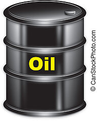 """vector drawing black barrel marked """"oil"""" on a white background"""