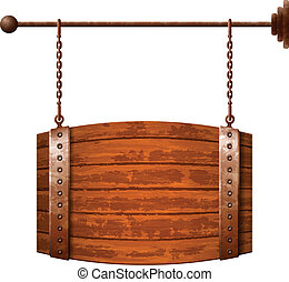 Barrel shaped wooden signboard on rusty chains