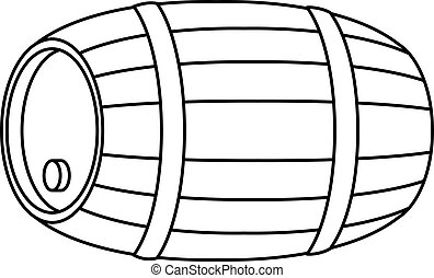 Barrel wood, container with hoop and stopper, contour, isolated