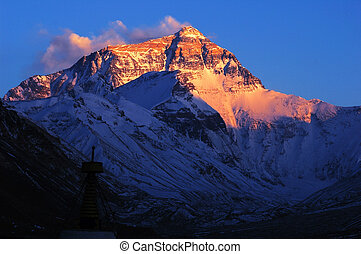 Base Camp of Mount Everest at sunset in May. The North Face of the Everest, Tibet, China.