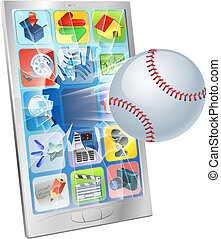 Baseball ball flying out of cell phone