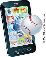 Baseball ball flying out of mobile phone