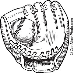 Doodle style baseball and glove in vector format