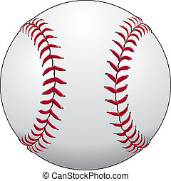 Illustration of a baseball or softball in white leather with red stitches.