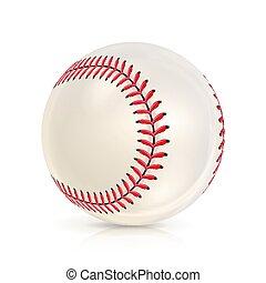 Baseball Leather Ball Isolated On White. Soft Ball Base Ball. Shiny Baseball Ball. Sport Leather Ball. Vector Illustration