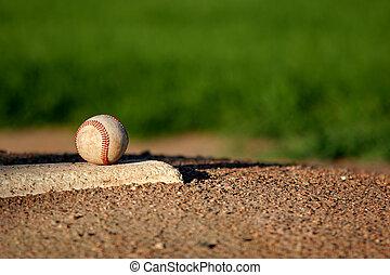 baseball closeup on the pitchers mound