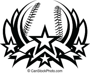 Graphic Template of Baseball Vector Graphic