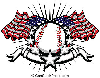 Stars and Stripes Patriotic baseball image with American Flags