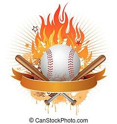 baseball, flames, design element