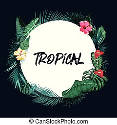 Basic Tropical forest background with round paper RGB