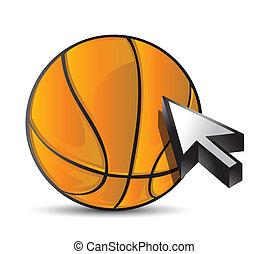 Basketball ball with cursor arrow