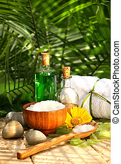 Bath salts and essential oils