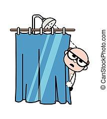 Bathing - Retro Cartoon Father Old Boss Vector Illustration