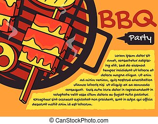 BBQ party background, banner vector graphic , greeting card or poster