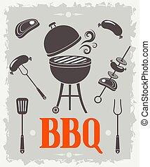 BBQ poster. Vector illustration